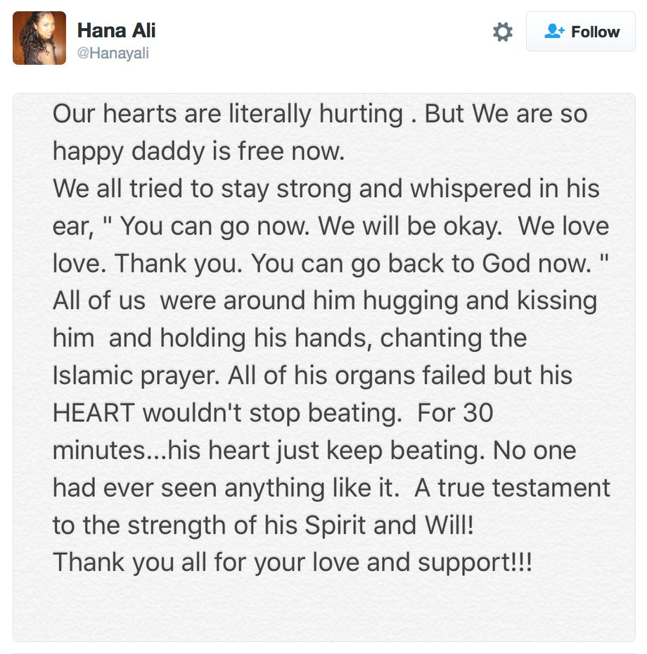 Incredible story from @MuhammadAli's daughter. At the end, Ali's organs failed--but his heart continued to beat. https://t.co/iS3ZfCAFaa