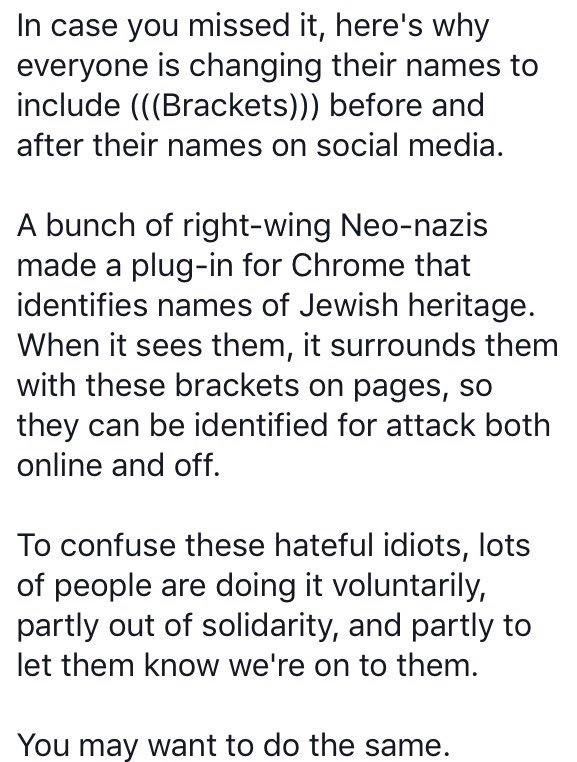 Why everyone has (((brackets))) around their names. https://t.co/0Q7MY1nMBu