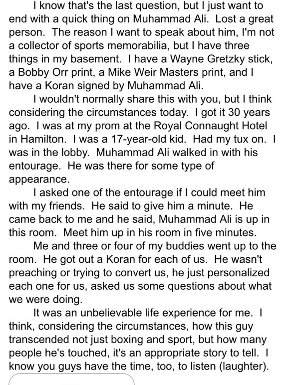 Hockey scribes covering the Cup have already tweeted Pete DeBoer's story of Ali. It bears repeating. https://t.co/lJkfDotLoJ