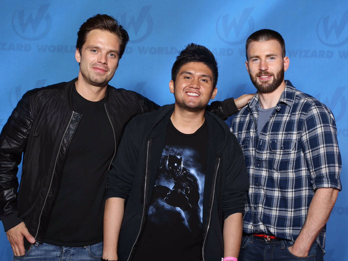 Met Sebastian Stan (Bucky Barnes) and Chris Evans (Cap)  That feel when you're the most beta in your squad. https://t.co/jPICBH9h8g