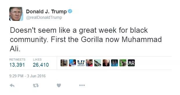 Did @realDonaldTrump really tweet suggesting that the gorilla killed in a zoo was a member of the black community? https://t.co/b3OM0sbgRD