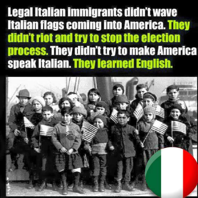 Spot on. My parents assimilated & only spoke Italiano in our home. They even gave us American names. https://t.co/NrANJ1U0B6