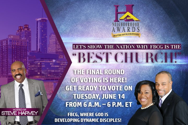 "FBCG Family and Friends! We thank everyone for nominating FBCG as ""Best Church!"" Final voting is on Tuesday, 6/14! https://t.co/82yMAgUkHv"