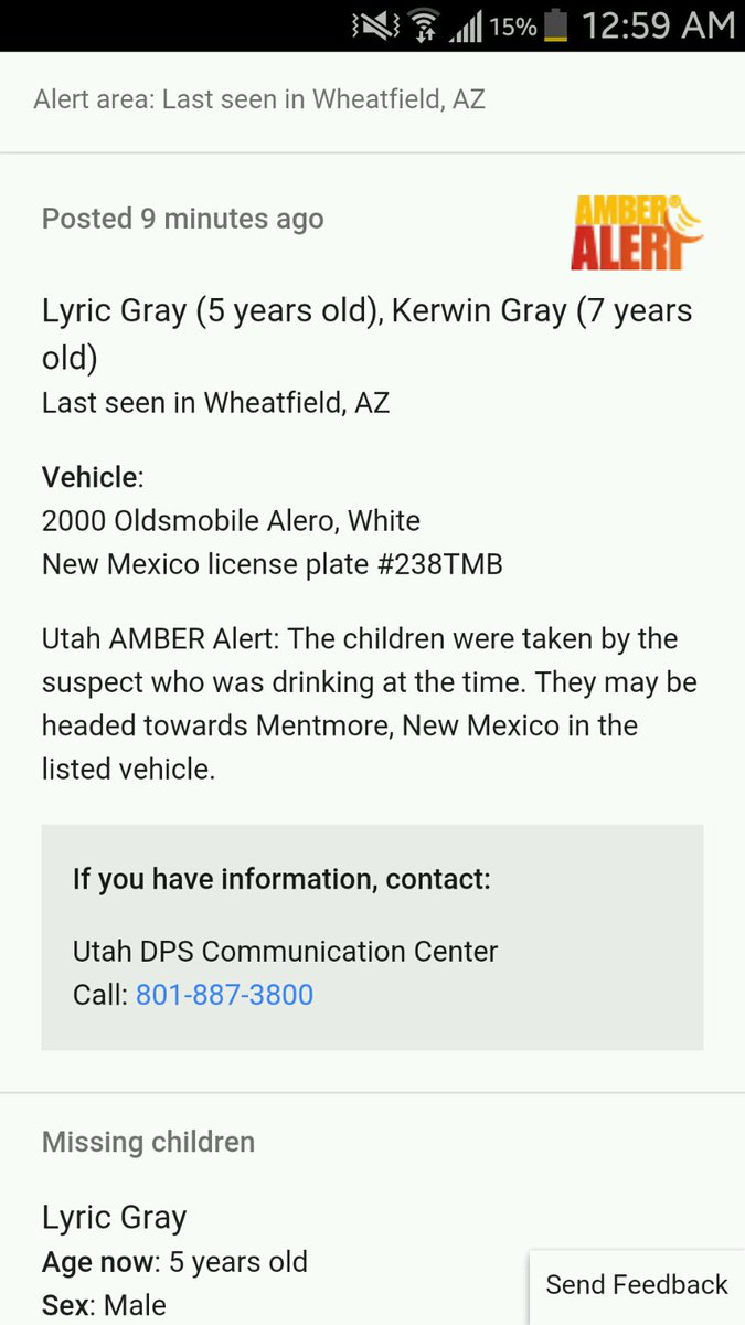 #AmberAlert issued in Utah. https://t.co/m9f7Uo9QtK