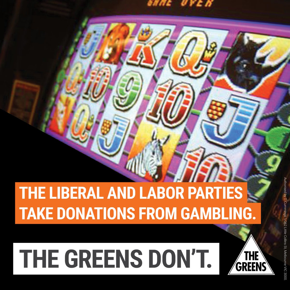 The Labor & Liberal parties may take donations from gambling; the Greens don't. This fight is personal. #Greens16 https://t.co/bHAUpZyZP4