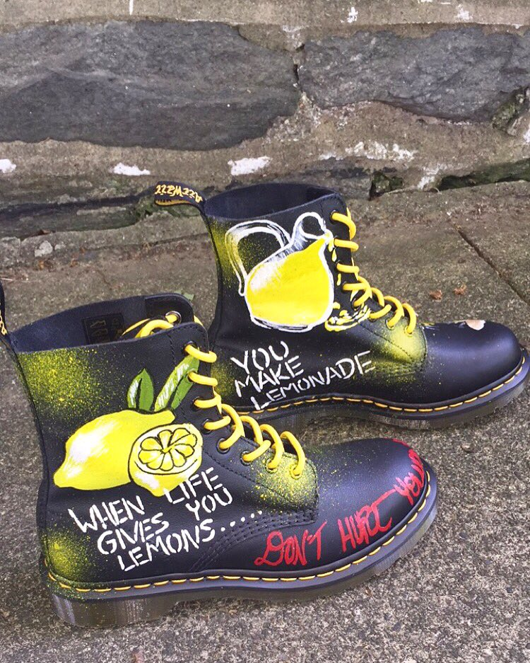 "Did someone say @beyonce was coming to Philly tonight?! Custom #DrmartensxJeantrix ""Lemonades"" for customer"