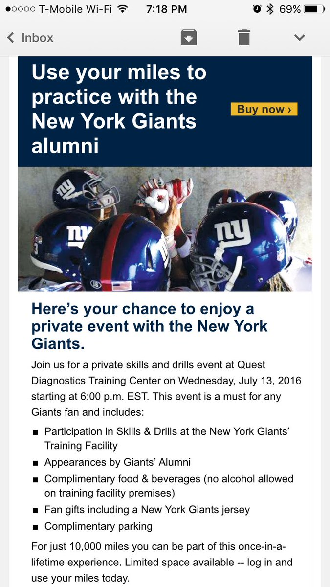 Great #sponsorship activation by @united letting customers use miles for a @Giants training experience #sportsbiz https://t.co/cgivOLgqQh