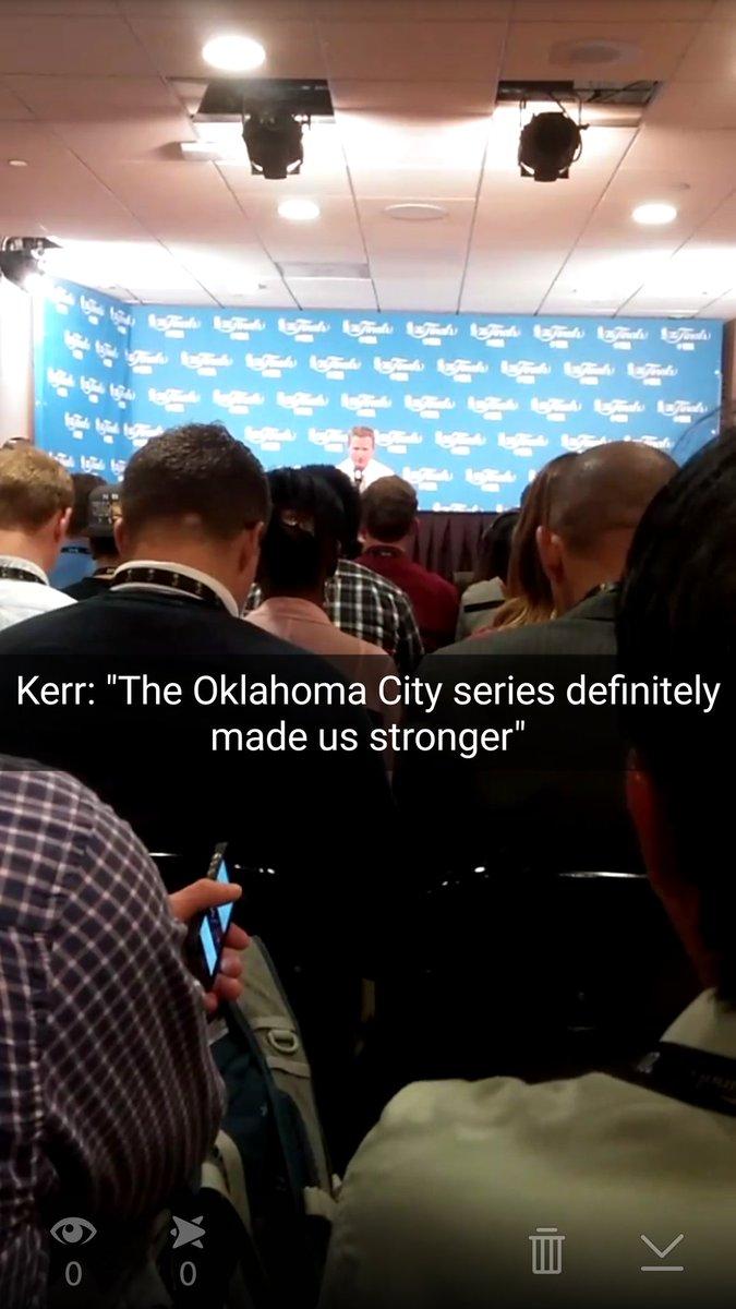 """Kerr: """"The Oklahoma City series definitely made us stronger"""" #Warriors #NBAFinals I'm at Snapchat/@LetsGoWarriors... https://t.co/6ZhhWUImFA"""