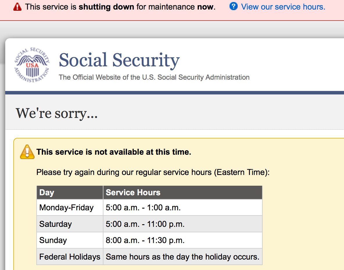 Well sure, makes sense for a site to have hours of operation. Need someone working to shovel coal and such. https://t.co/TR66GOz0XY