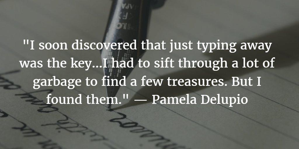 """""""I soon discovered that just typing away was the key..."""" ~ Pamela Delupio #amwriting #WriteTip https://t.co/1VsogtOjNM"""