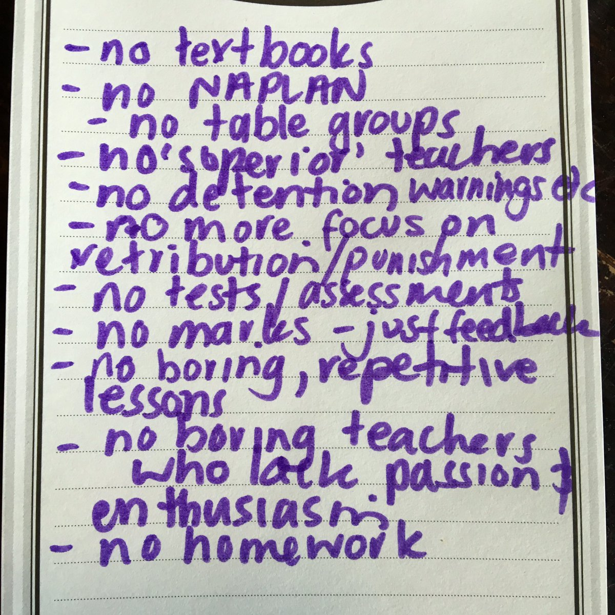 I got Mr 11 & Mr 14 to list the things they wished they could change about school. Here's the list... #edunationAU https://t.co/XHSXJqCDn5