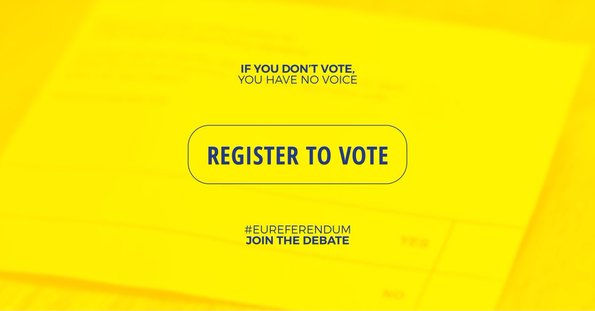 The deadline to register to vote in the EU Referendum is TOMORROW.  Don't miss out. https://t.co/ioLGBE5f0R https://t.co/2TyhpIoO4c