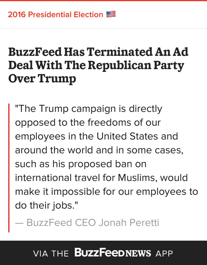 BuzzFeed Terminates Ad Deal With Republican Party Over Trump https://t.co/QAekZ9DLki #nevertrump #gop https://t.co/Onq4Z9x3uC