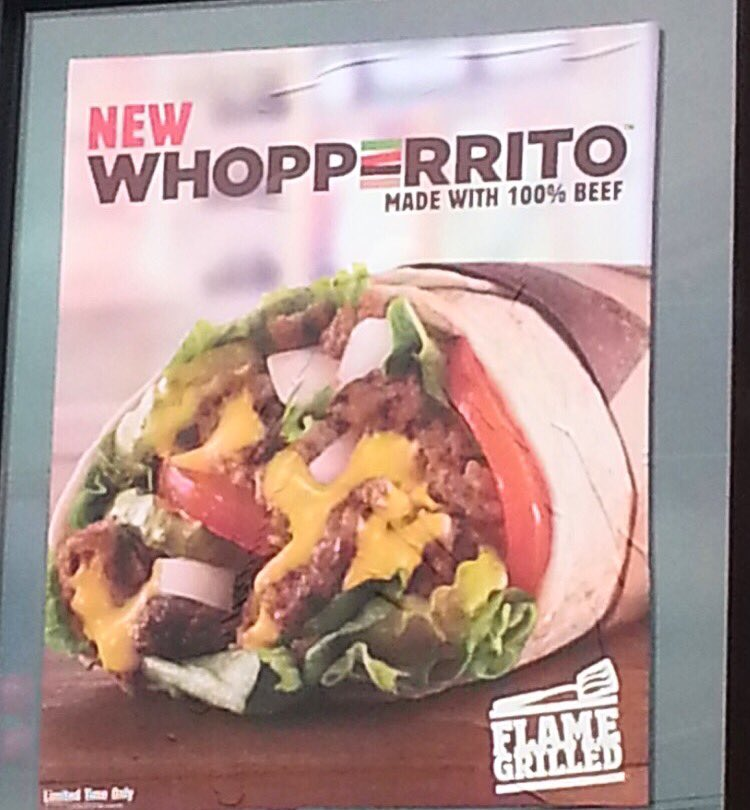ICYMI here's a first look at Burger King's New Whopperrito... part burrito, part Whopper https://t.co/CUYmBn8yHd https://t.co/ClxGJgfb6D