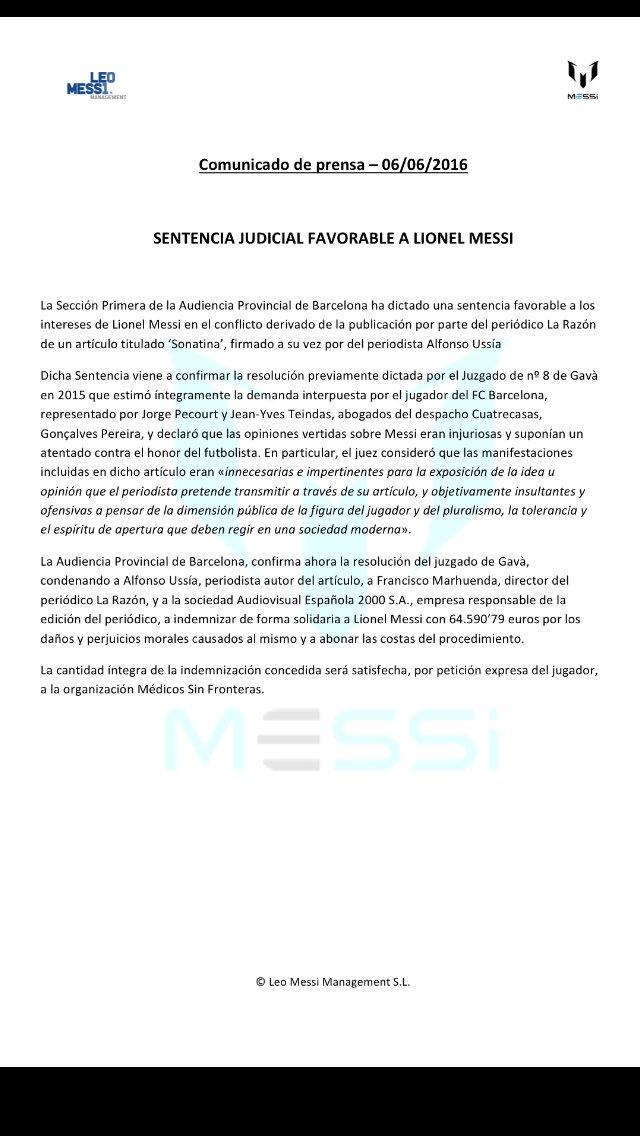 La Razón deberá indemnizar a Messi por un artículo de Alfonso Ussía. 64.590€ que serán para Médicos sin Fronteras https://t.co/7BngLrx43X