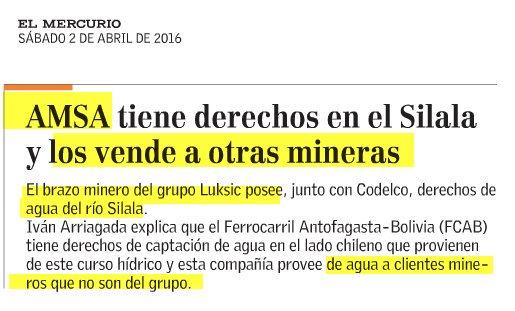 Aguas del río Silala, por lado chileno,¿de quién son?  Propietario: Antofagasta Minerals, grupo Luksic. Uso: minería https://t.co/1PlflChue7