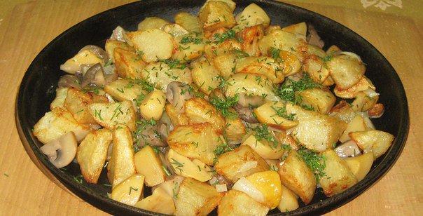 Картошка жареная с грибами и луком рецепт с пошагово