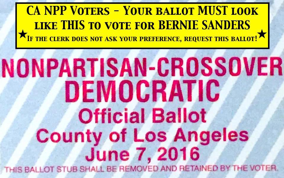 Nonpartisan Voters in CA! Ballot MUST look like this to vote #BernieSanders! @People4Bernie #CAPrimary #CAforBernie https://t.co/7oJPAZhtTC