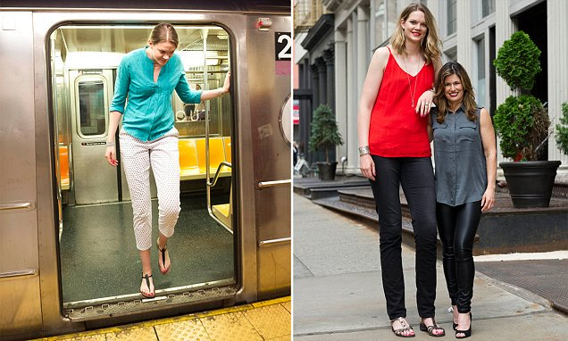 This Super Tall Woman Can Barely Fit On The Subway And Her Wife Is Only 52