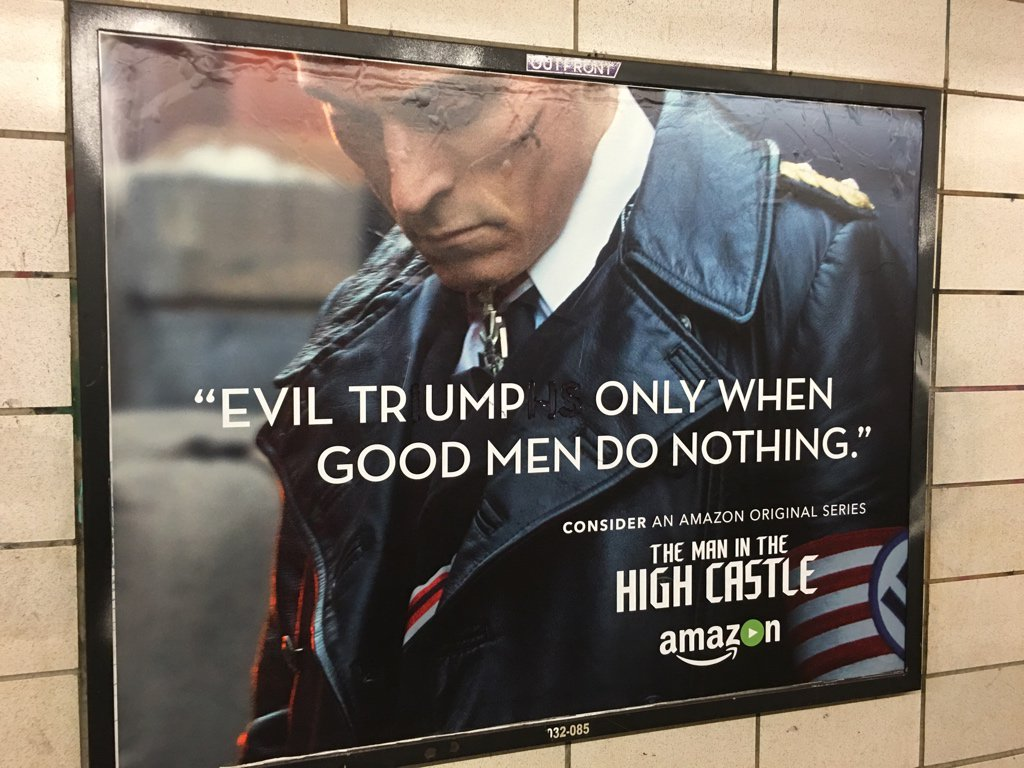 Altered advertisement, 25th St & Fourth Avenue subway station, Brooklyn. https://t.co/Fj1GlmyKAN