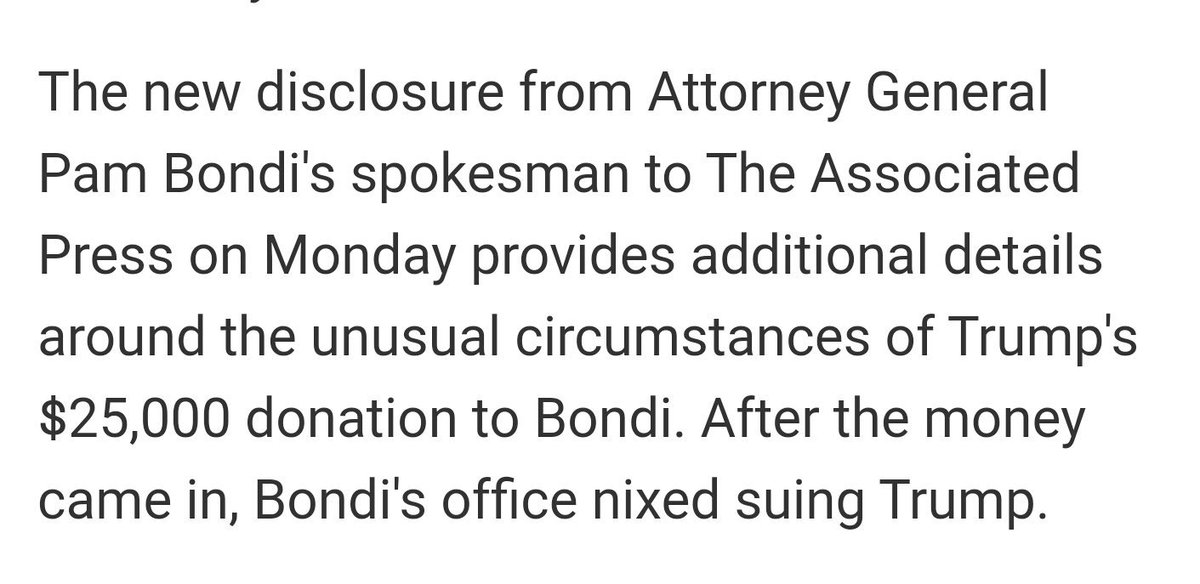 Hell of a get from @mbieseck & co: Fla AG asked Trump for donation before nixing fraud case https://t.co/VRodvd9YAY https://t.co/MGBm8niG5d