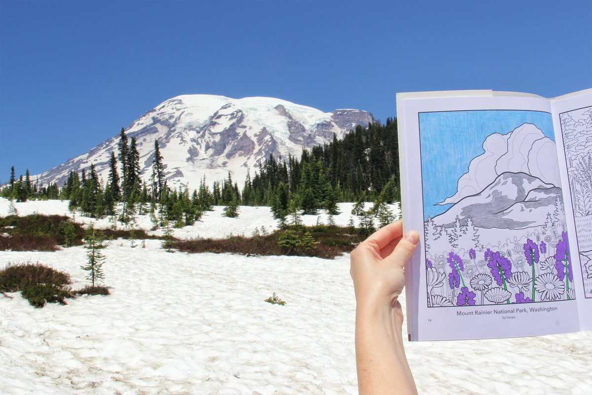 RT @wanderlustart: @hitRECord Took a trip to Tacobet (Mt. Rainier) and brought along the #FindYourPark coloring book. :) https://t.co/qrIOb…