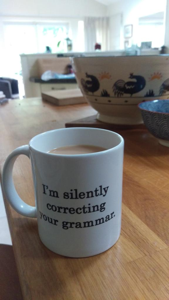 Just found this mug in my parents' house. It's clearly genetic. #grammar #tea https://t.co/dxEGDnX1I6