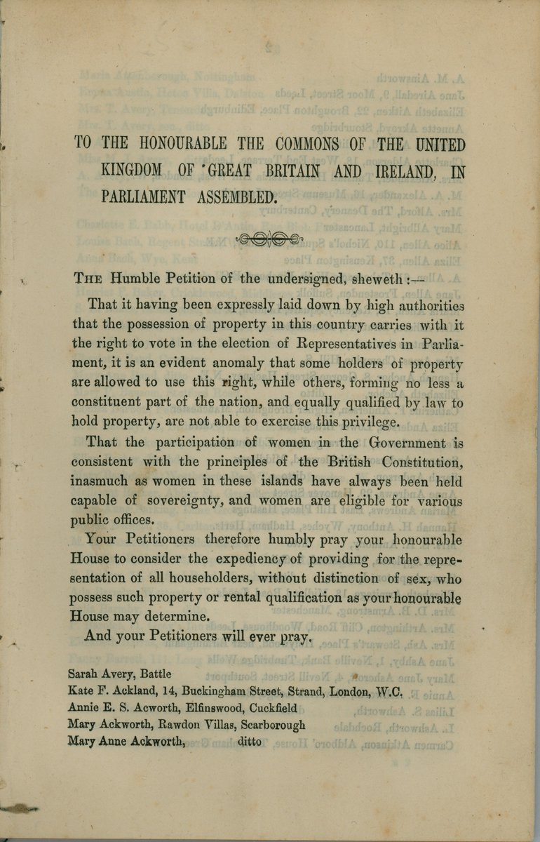 #onthisday in 1866 John Stuart Mill presented a petition signed by 1,499 women calling for #suffrage (1/2) https://t.co/b2SiO65RP6