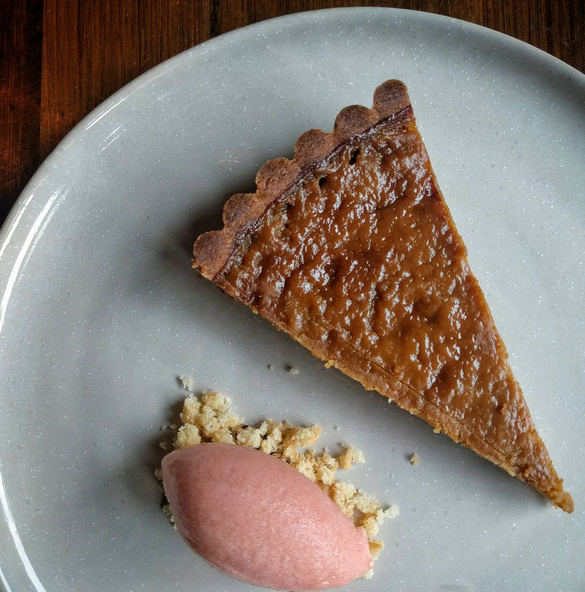 Your Tuesday lunch treat - sorghum pie with sweet potato ice cream. #atlfood #sorghumpie https://t.co/fN8t0NC8HI
