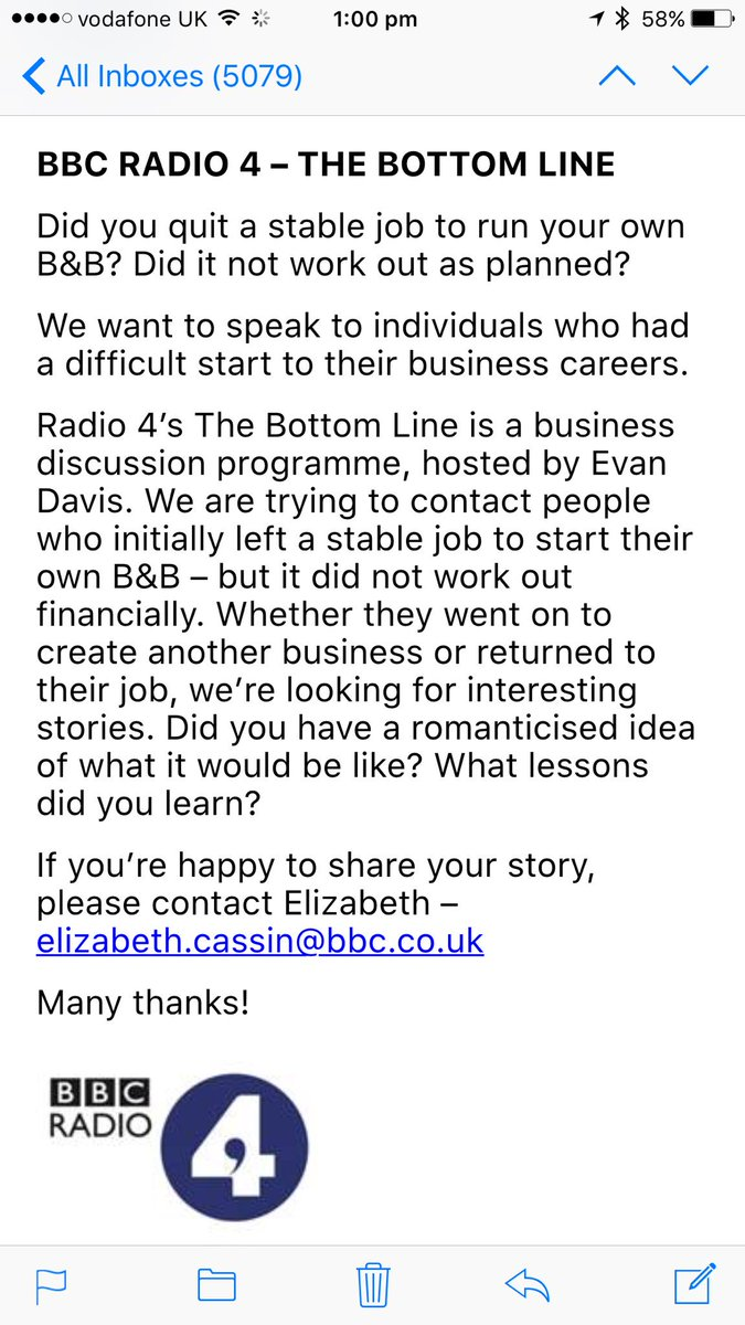 A request from Radio 4 looking for people who gave up running a B&B as wasn't as expected. All rts gratefully rcvd https://t.co/2wvpPkV2Qy