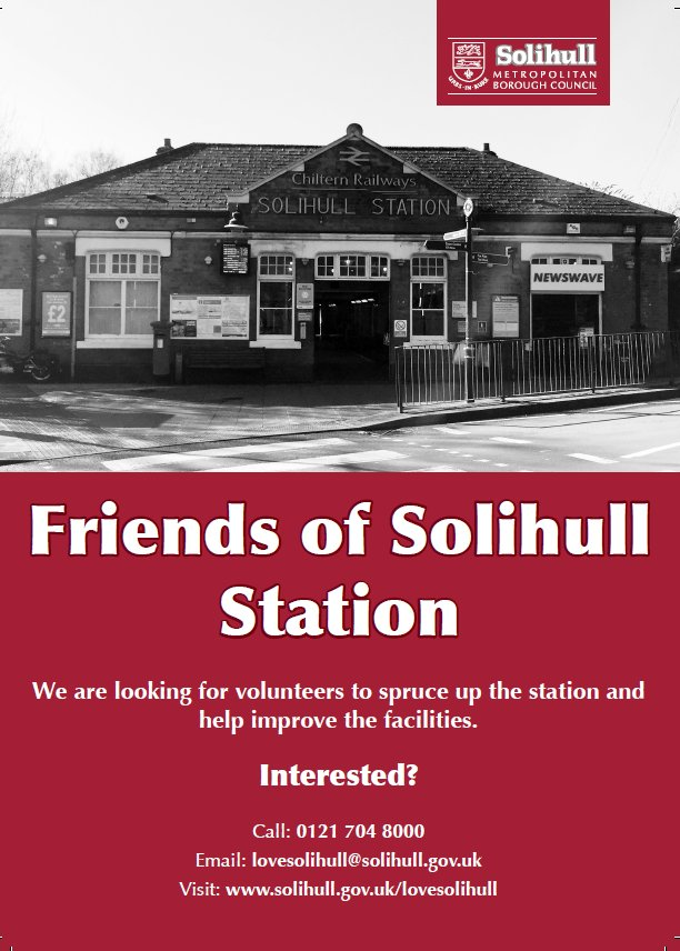 Could you help us out with sprucing up Solihull Station? Get in touch! #lovesolihull https://t.co/sz9v9Pdufs