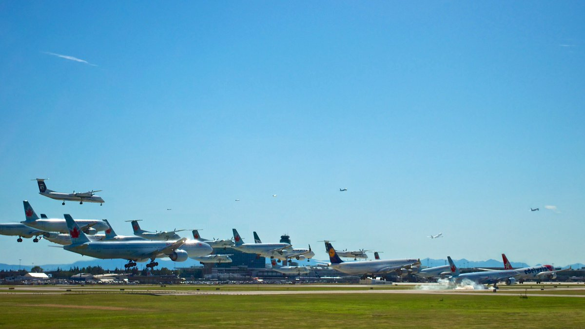 Composite of busy runway activity at YVR: