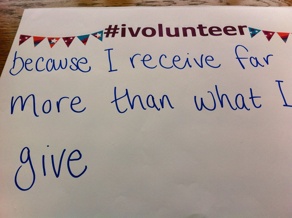 """#Ivolunteer because I receive far more than what I give"" #VolunteersWeek https://t.co/iM2H3OFDUI"