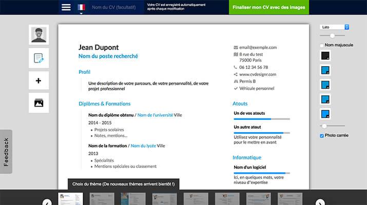 outil de  cr u00e9ation de  cv design pdf gratuit  emploi  u00e0