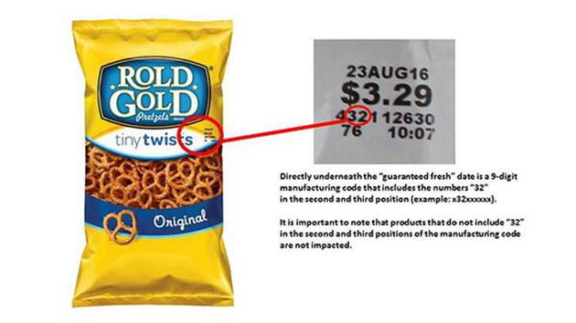 RECALL ALERT: Rold gold pretzels recalled over possible peanut residue.