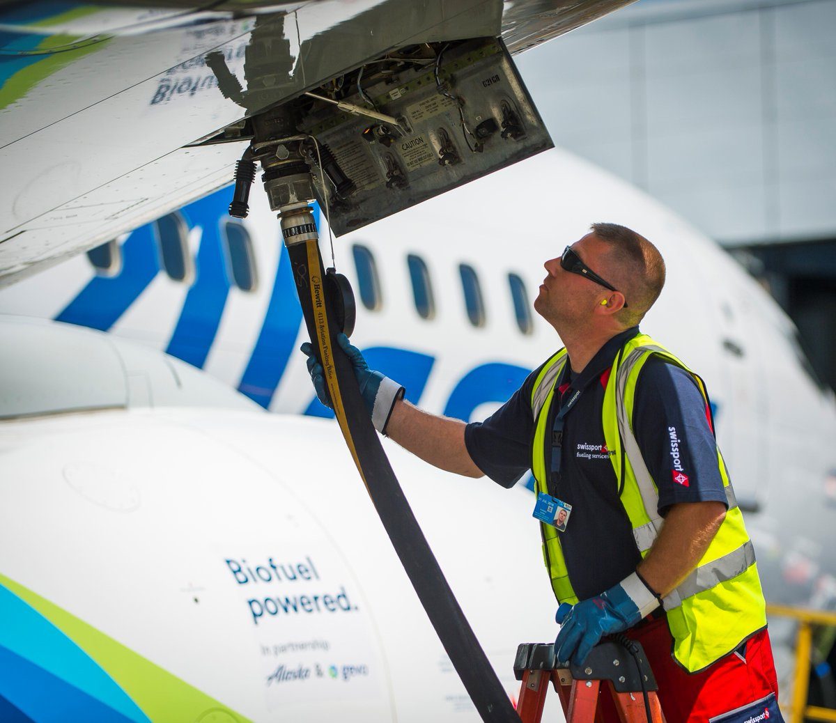 All bio-fueled up & ready to go! Today we operated the first commercial flight using biofuel