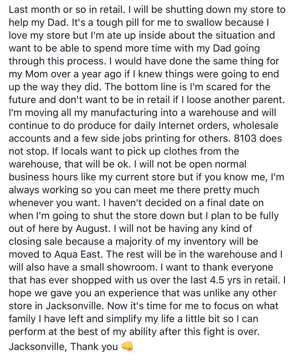 These are the last 2 months the flagship store will be open. I'm closing the store to help my Dad. https://t.co/820ceIsia5