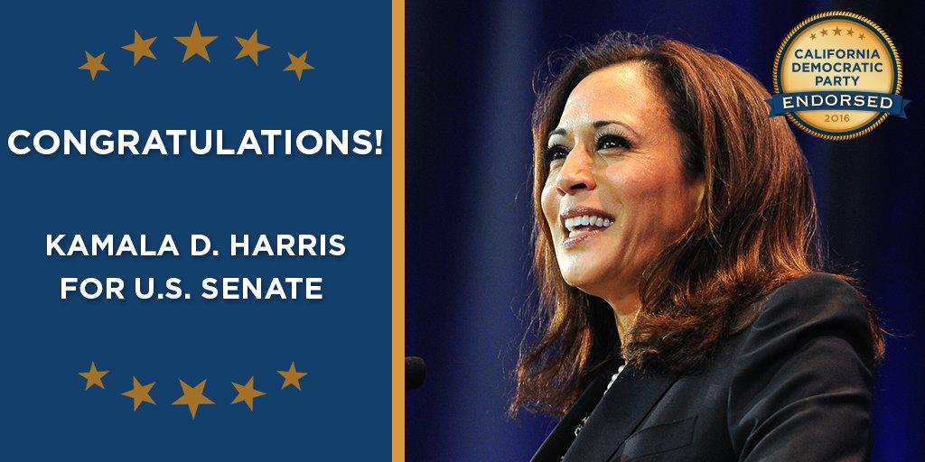 Congrats to @KamalaHarris for finishing first tonight in the race for U.S. Senate! #TeamKamala https://t.co/fJz66dtJnV