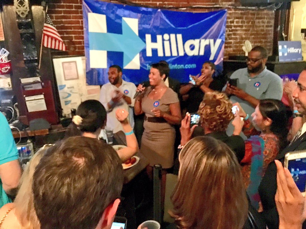 So proud to stand w/ @HillaryClinton & her #WashingtonDC supporters tonight as she makes history. #ImWithHer https://t.co/B7CpGgTeTg