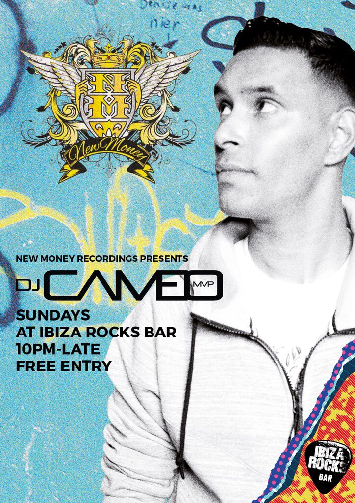 Every Sunday here in the bar @djcameo takes the Raines holding a summer long residency! @NewMoneyRec #ibiza https://t.co/Vx4WoD3Jnb