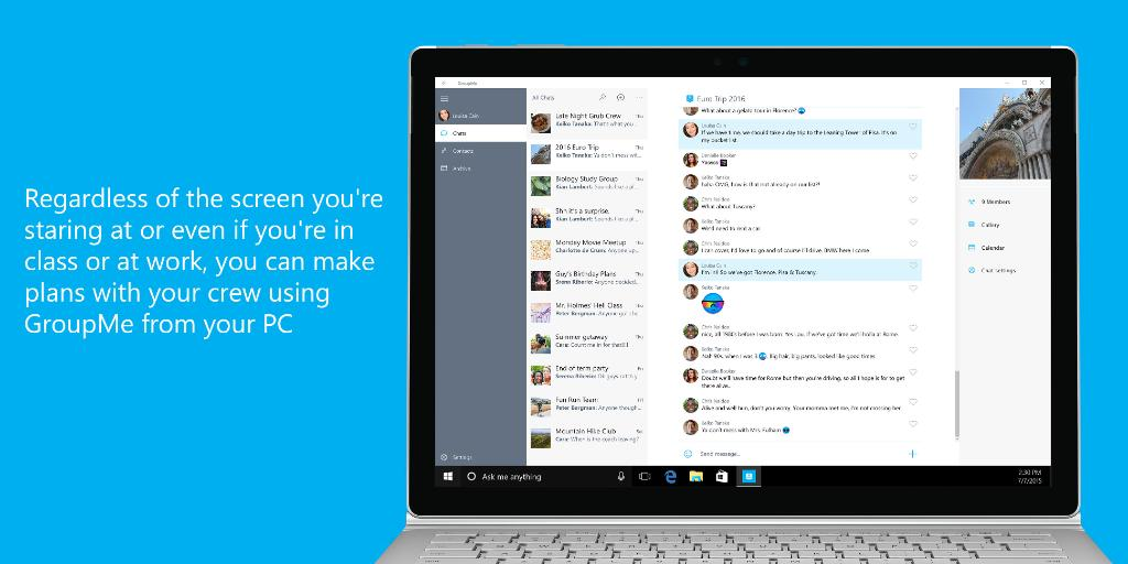 Introducing GroupMe for #Windows10 PCs! Catch up straight from your desktop. Get it here: https://t.co/XBQjgob9JR https://t.co/gUgtyXWnwp