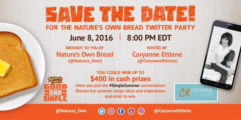 Join us & @CoryanneEttiene @ 8pm EDT TONIGHT for our #SimpleSummer Twitter party & the chance to win cash #prizes! https://t.co/uylYHEODOs