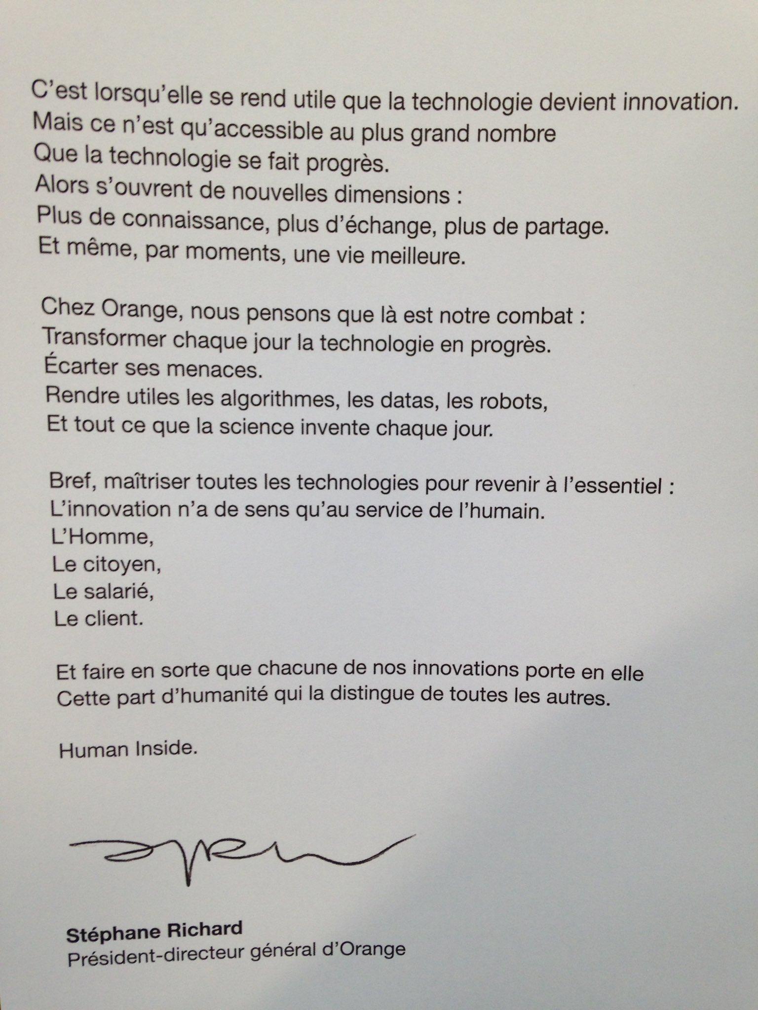 """""""Human inside"""", la nouvelle profession de foi de Stéphane Richard #OrangeGardens https://t.co/fEFnPaWV2m"""