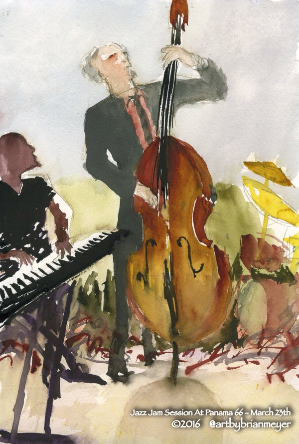 Live #Jazz tonight at @Panama66 from 6-11:30 p.m. Paintings courtesy of @ArtByBrianMeyer. #SanDiego #ThingsToDo https://t.co/cm1jc7maan