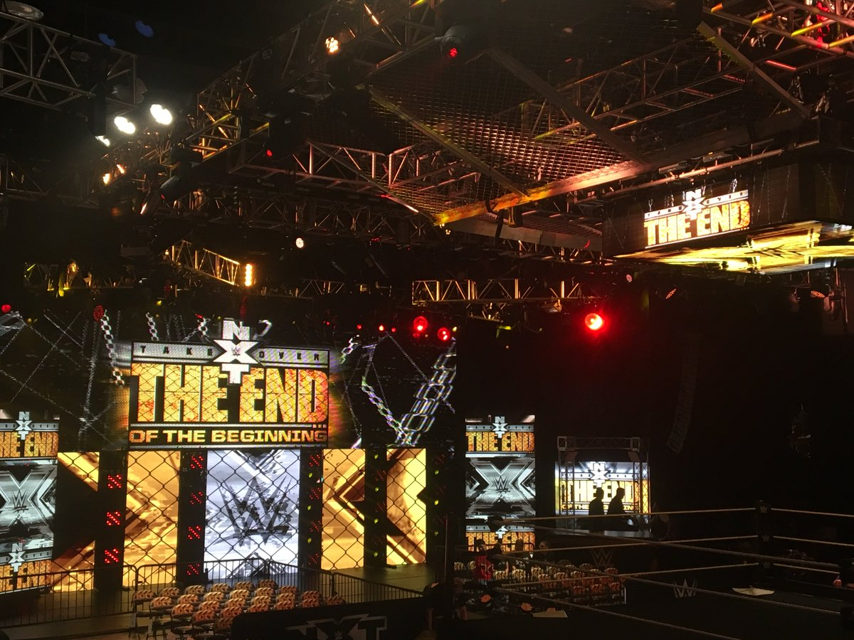 "NXT Takeover cage set-up and new slogan of ""NXT Takeover: The End of the Beginning"" via correspondent Josh Parry. https://t.co/geJGMz1YFr"
