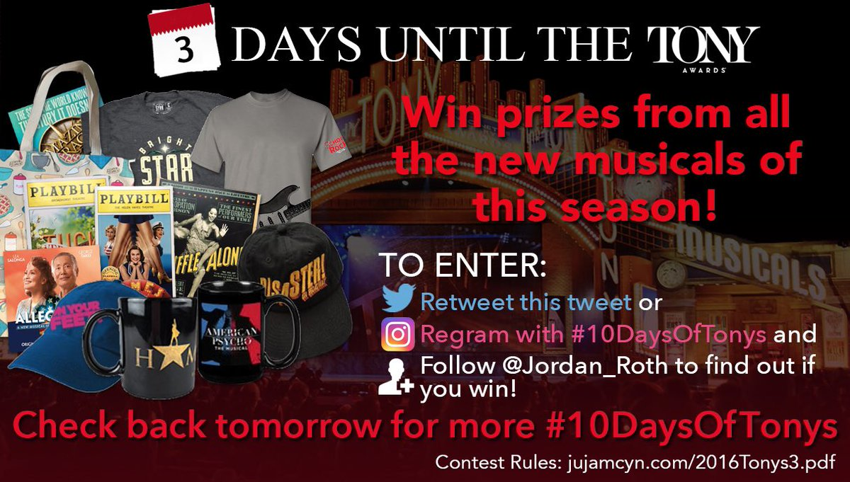 Retweet to enter to win prizes from EVERY NEW BROADWAY MUSICAL of this season! #10DaysOfTonys https://t.co/tgywRluRU8
