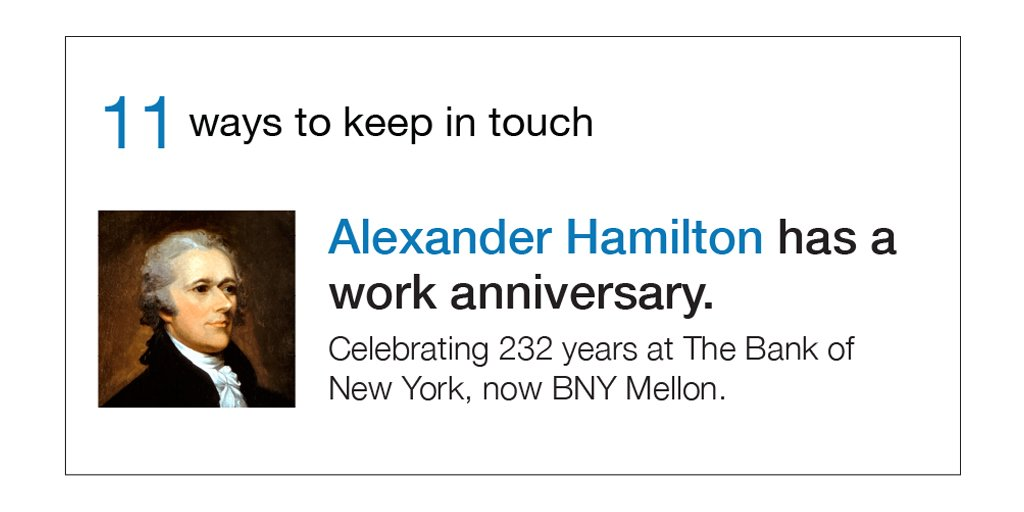 232 years ago I founded the Bank of New York. Think I was innovative then? Today I'm writing tweets! - A. Hamilton https://t.co/NjXWJ6aWQn