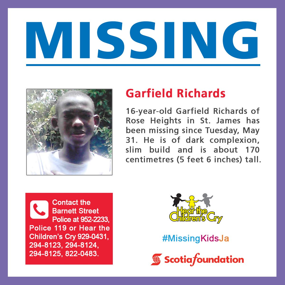 Garfield Richards has been missing since May 31. Help us reunite him with his family. #MissingKidsJa #OurChildrenJa https://t.co/dNrLrjgkEM