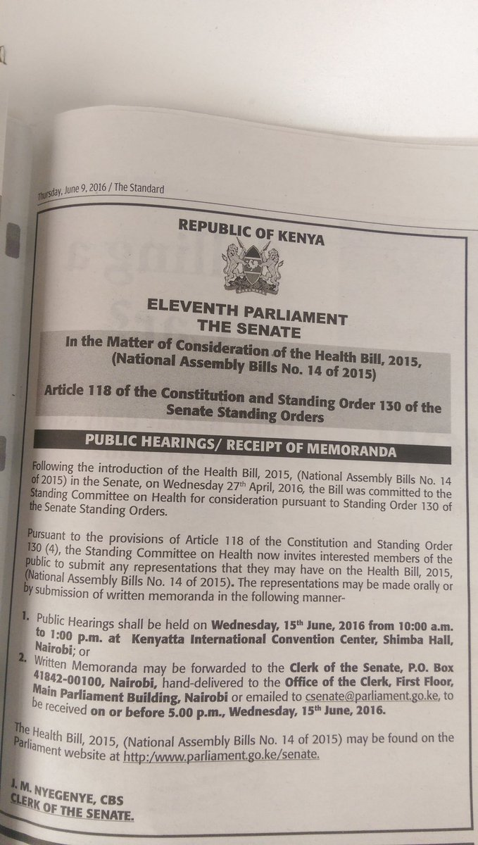Senate needs your input to inform The Health Bill 2015. A public hearing will be held on 15th June 2016. https://t.co/iWTkKbfPye
