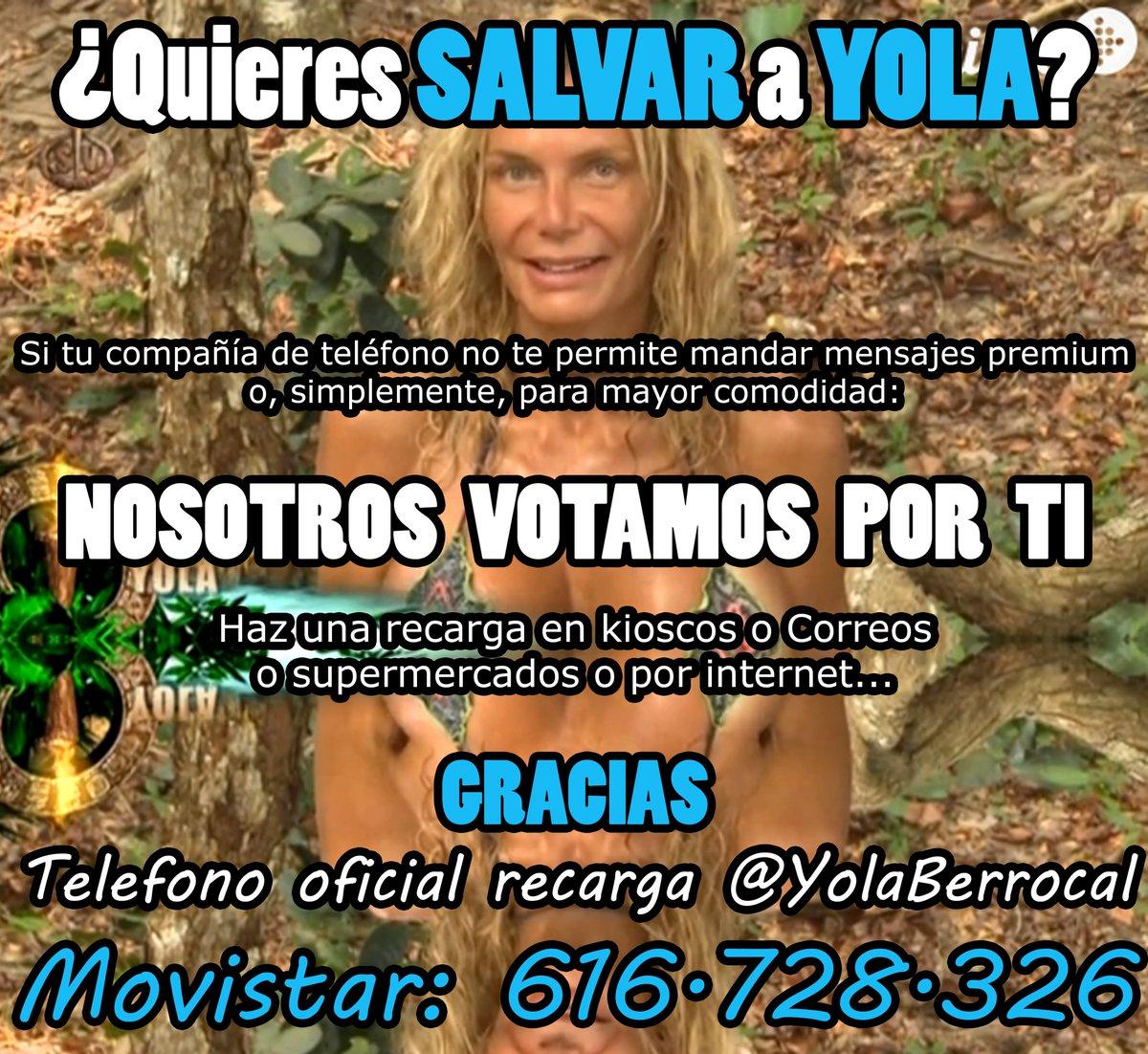 Nº recarga oficial @YolaBerrocal 616728326. Nosotros votamos por ti. Pago online: https://t.co/tuCvESnT7x #TeamYola https://t.co/Kvkyha6N20